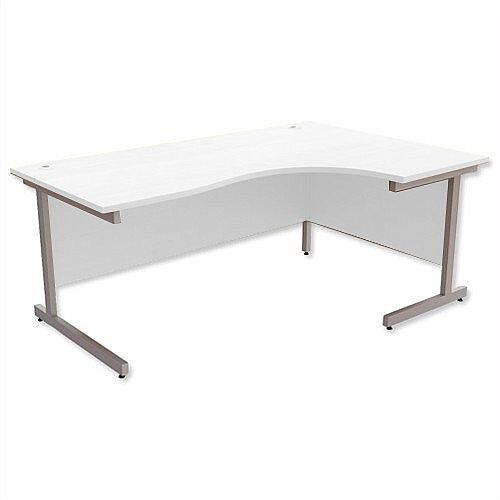 Office Desk Radial Right Hand Silver Legs W1800xD1200xH725mm White Ashford