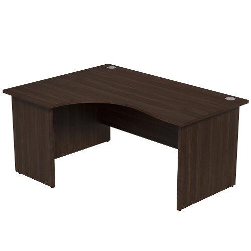 Radial Office Desk Panelled Left Hand W1600xD1200xH725mm Dark Walnut Ashford