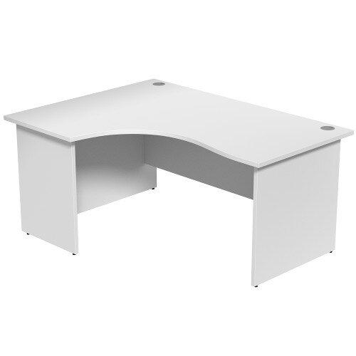 Radial Office Desk Panelled Left Hand W1600xD1200xH725mm White Ashford