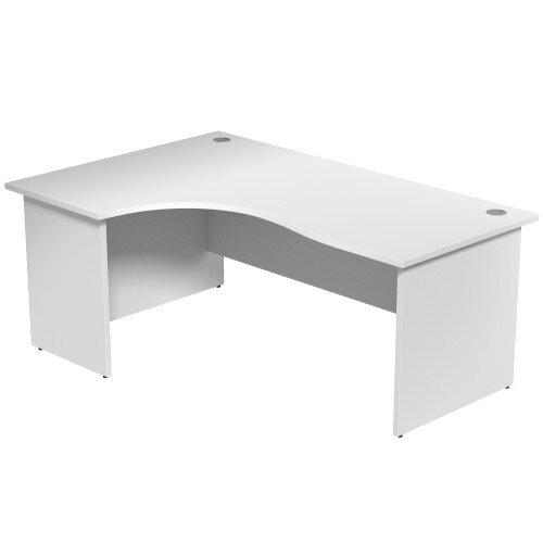 Radial Office Desk Panelled Left Hand W1800xD1200xH725mm White Ashford