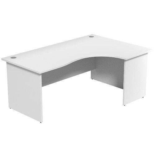 Radial Office Desk Panelled Right Hand W1800xD1200xH725mm White Ashford