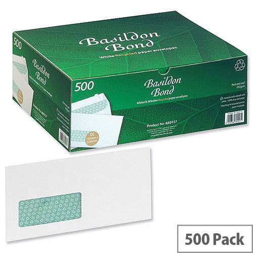 Basildon Bond DL Window Envelopes Peel and Seal White Wallet 100gsm Pack of 500