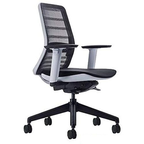 Koplus TONIQUE Ergonomic Posture Black Mesh Task Operator Office Chair with Lumbar Support &Seat Slide White Frame &Black Base