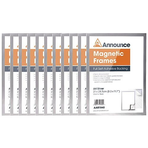 Announce Magnetic Frames A4 Silver Pack of 10 AA01842