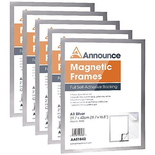 Announce Magnetic Frames A3 Silver Pack of 5 AA01844