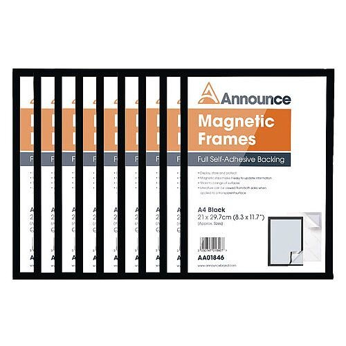 Announce Magnetic Frames A4 Black Pack of 10 AA01848