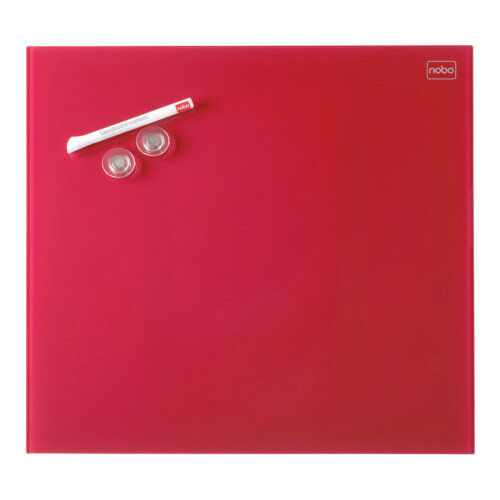 Nobo Diamond Glass Magnetic Whiteboard - Retail Pack 300x300mm Red
