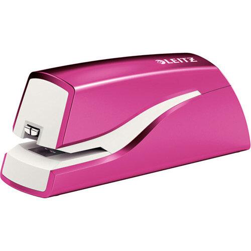 Leitz NeXXt Series WOW Electric Stapler Battery-Powered Metallic Pink