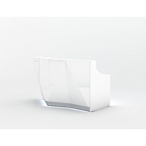 ALPA Straight Reception Desk with White Glass Front and Right Curve End W1835xD946xH1100mm
