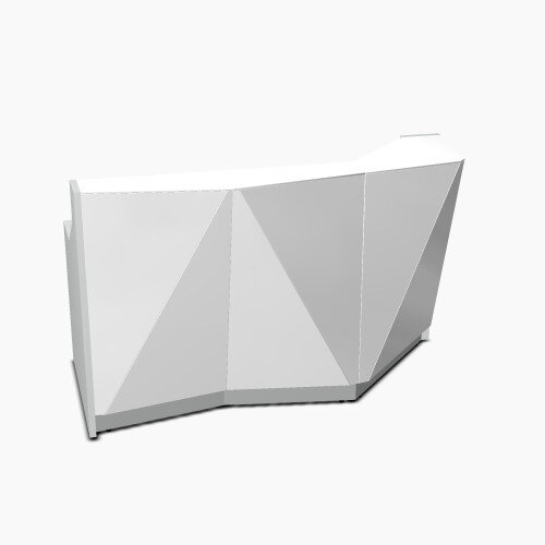 ALPA Straight Reception Desk with Silver Glass Front and Right Curve End W1835xD946xH1100mm