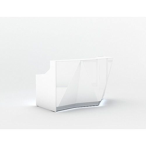ALPA Straight Reception Desk with White Glass Front and Left Curve End W1835xD946xH1100mm