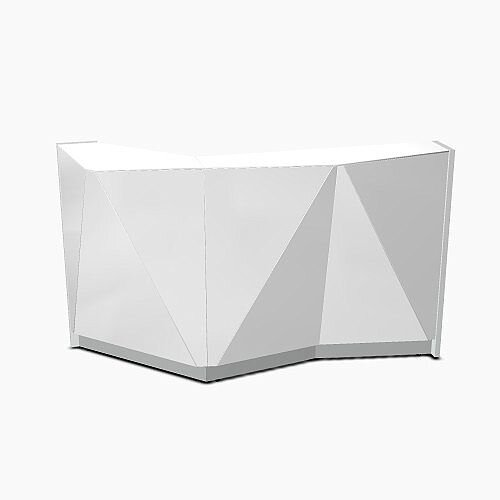 ALPA Straight Reception Desk with Silver Glass Front and Left Curve End W1835xD946xH1100mm