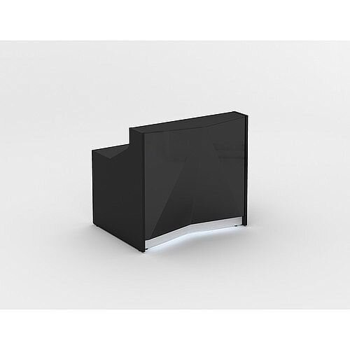 ALPA Small Straight Reception Desk with Black Glass Front W1256xD946xH1100mm