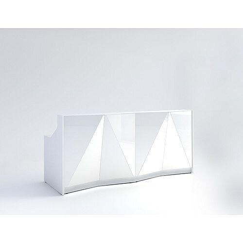ALPA Straight Reception Desk with White Glass Front W2456xD946xH1100mm