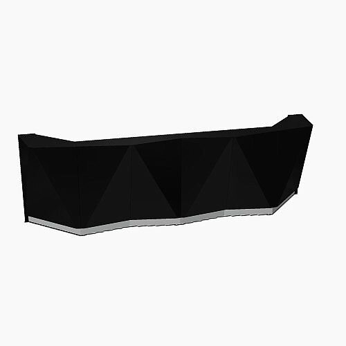 ALPA Straight Reception Desk with Black Glass Front W3613xD946xH1100mm