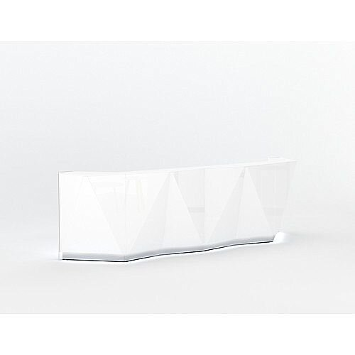 ALPA Straight Reception Desk with White Glass Front W3613xD946xH1100mm