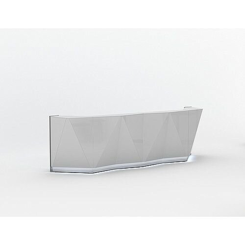 ALPA Straight Reception Desk with Silver Glass Front W3613xD946xH1100mm