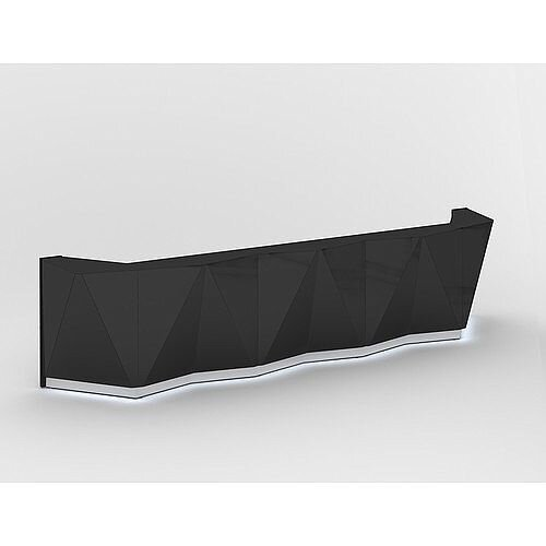 ALPA Straight Reception Desk with Black Glass Front W4813xD946xH1100mm