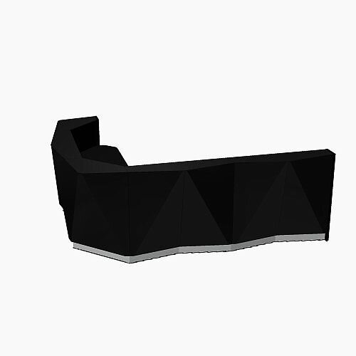ALPA Curved Reception Desk with Black Glass Front and Right Return W3135xD2514xH1100mm