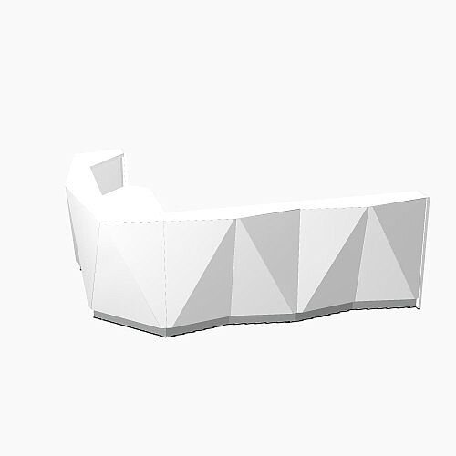 ALPA Curved Reception Desk with White Glass Front and Right Return W3135xD2514xH1100mm
