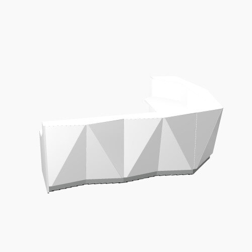 ALPA Curved Reception Desk with White Glass Front and Left Return W3135xD2514xH1100mm