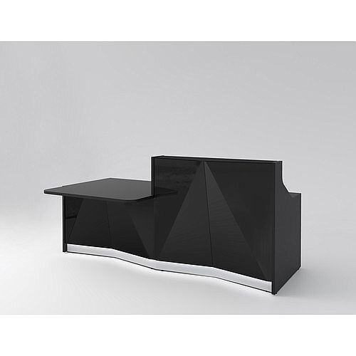 ALPA Straight Reception Desk with Black Glass Front &Right Low Level Section W2456xD1200xH1100mm