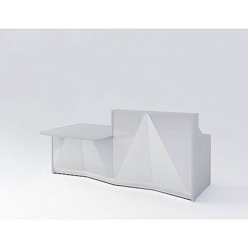 ALPA Straight Reception Desk with Silver Glass Front &Right Low Level Section W2456xD1200xH1100mm