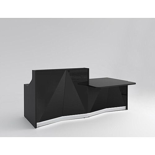 ALPA Straight Reception Desk with Black Glass Front &Left Low Level Section W2456xD1200xH1100mm