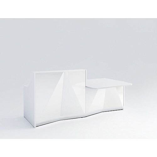 ALPA Straight Reception Desk with White Glass Front &Left Low Level Section W2456xD1200xH1100mm