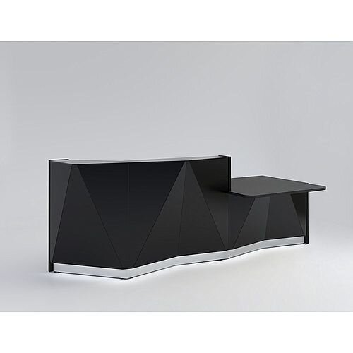 ALPA Straight Reception Desk with Black Glass Front &Left Low Level Section W3034xD1200xH1100mm