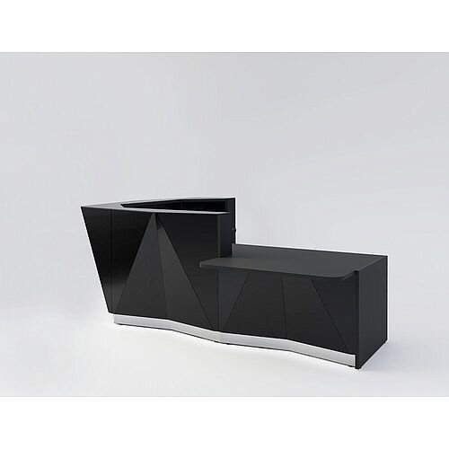 ALPA L Shaped Reception Desk with Black Glass Front &Left Low Level Section W3135xD2767xH1100mm