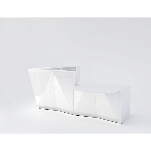 ALPA L Shaped Reception Desk with White Glass Front &Left Low Level Section W3135xD2767xH1100mm