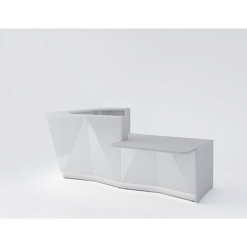 ALPA L Shaped Reception Desk with Silver Glass Front &Left Low Level Section W3135xD2767xH1100mm