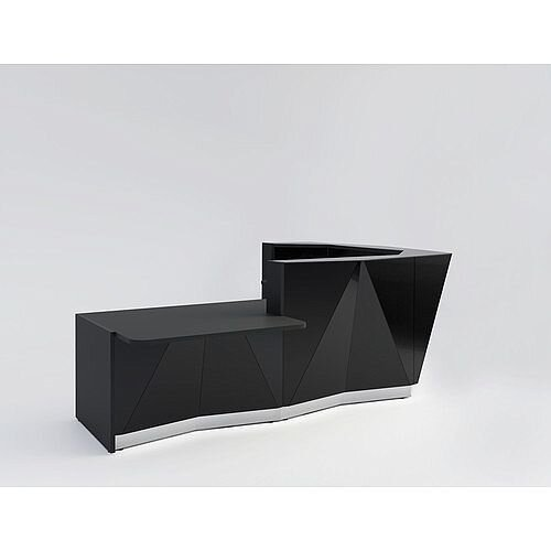 ALPA L Shaped Reception Desk with Black Glass Front &Right Low Level Section W3135xD2767xH1100mm