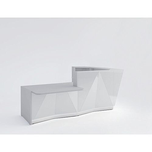 ALPA L Shaped Reception Desk with Silver Glass Front &Right Low Level Section W3135xD2767xH1100mm