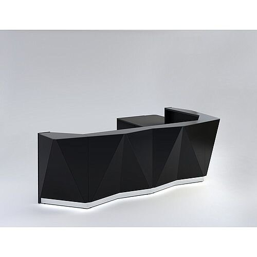 ALPA L Shaped Reception Desk with Black Glass Front &Left Low Level Section W3967xD3135xH1100mm