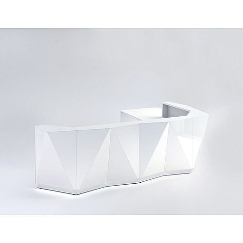 ALPA L Shaped Reception Desk with White Glass Front &Left Low Level Section W3967xD3135xH1100mm