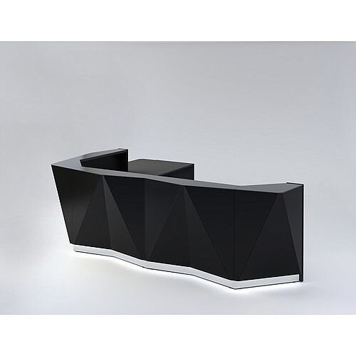 ALPA L Shaped Reception Desk with Black Glass Front &Right Low Level Section W3967xD3135xH1100mm