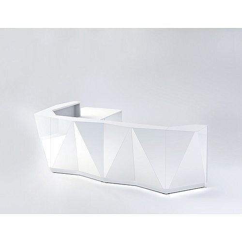 ALPA L Shaped Reception Desk with White Glass Front &Right Low Level Section W3967xD3135xH1100mm