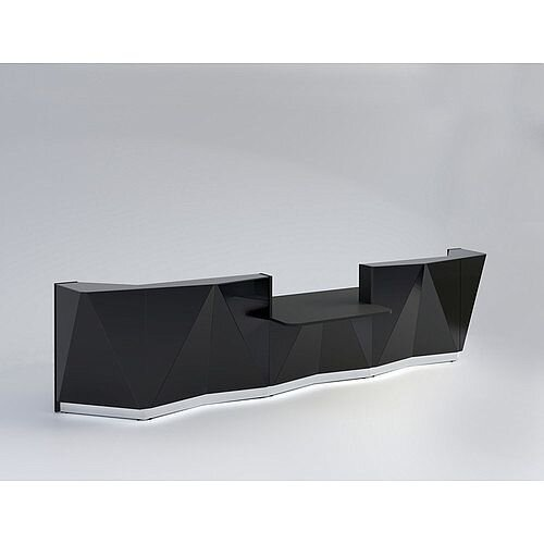 ALPA Straight Reception Desk with Black Glass Front &Central Low Level Section W4813xD1200xH1100mm