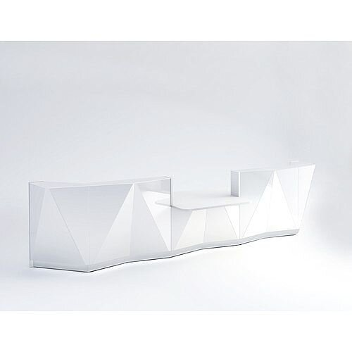 ALPA Straight Reception Desk with White Glass Front &Central Low Level Section W4813xD1200xH1100mm