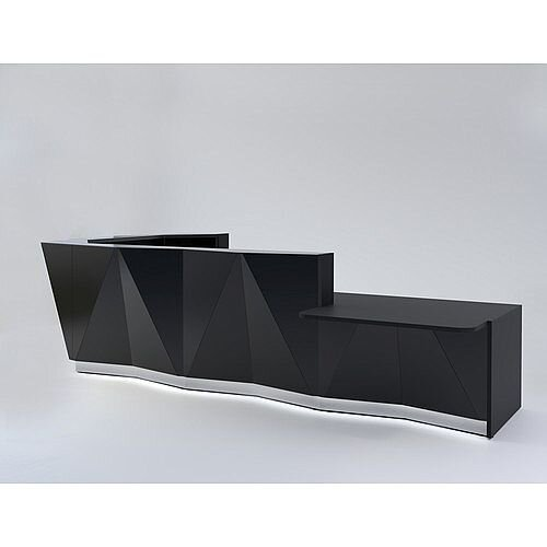 ALPA L Shaped Reception Desk with Black Glass Front &Left Low Level Section W4335xD2767xH1100mm