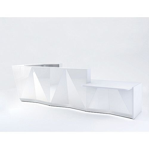 ALPA L Shaped Reception Desk with White Glass Front &Left Low Level Section W4335xD2767xH1100mm