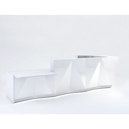 ALPA L Shaped Reception Desk with White Glass Front &Right Low Level Section W4335xD2767xH1100mm