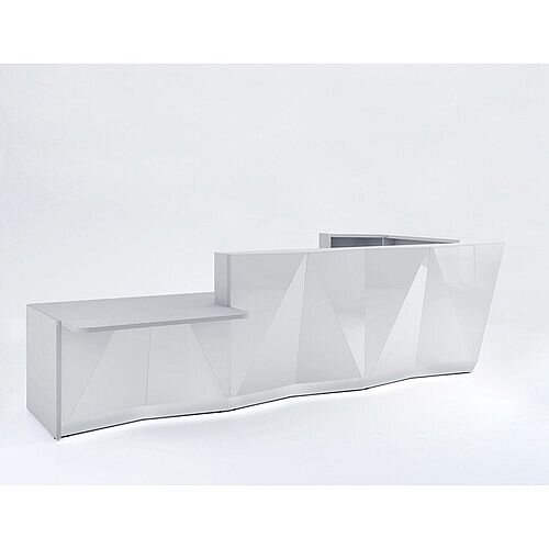 ALPA L Shaped Reception Desk with Silver Glass Front &Right Low Level Section W4335xD2767xH1100mm