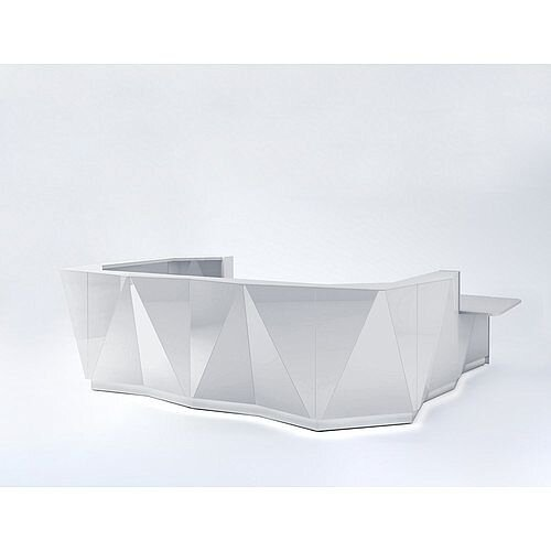 ALPA U Shaped Reception Desk with Silver Glass Front &Left Low Level Section W4069xD3135xH1100mm