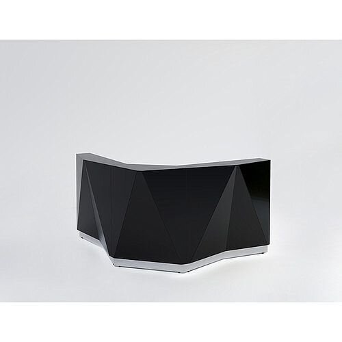 ALPA Curved Reception Desk with Black Glass Front W1907xD1907xH1100mm