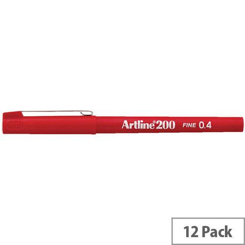 Artline 200 Red 0.4mm Tip Pen Pack of 12