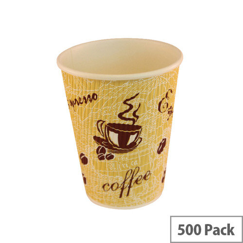 4Aces Ripple Red Bean 12oz/350ml Coffee Paper Cups [Pack of 500] AS55441