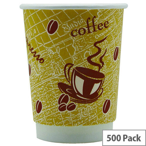 4Aces Double Wall 12oz/350ml Red Bean Paper Cups for Hot Drinks (Pack of 500) AS55661